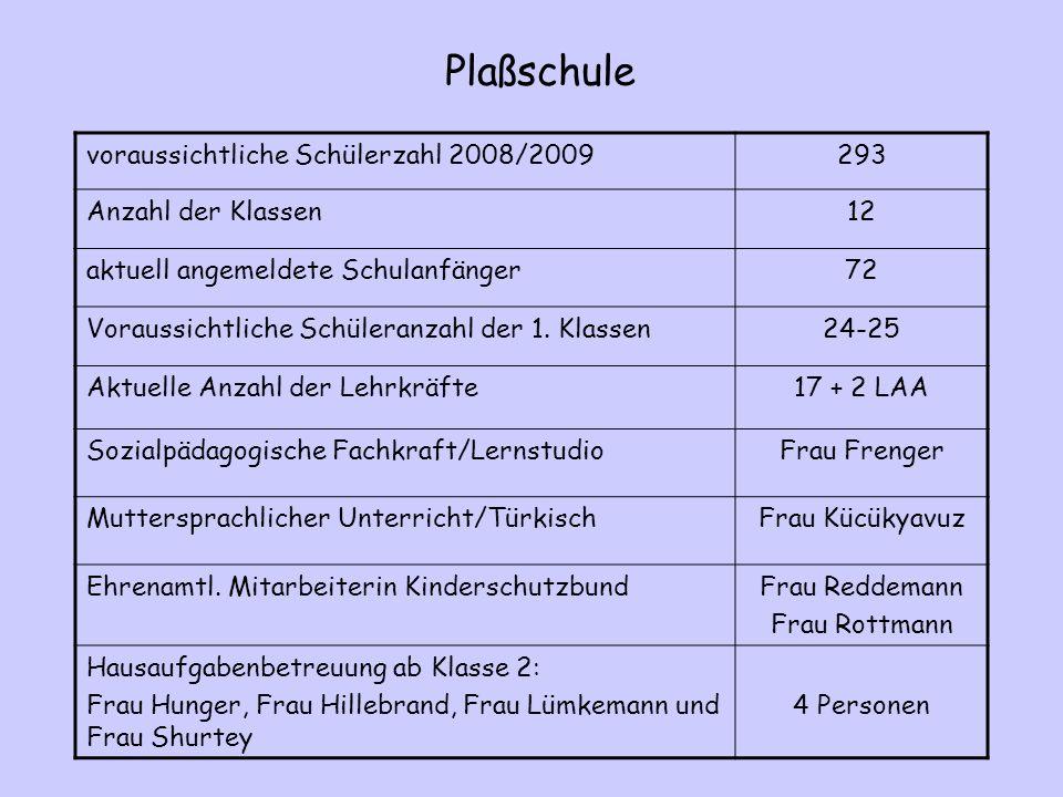 Plaßschule voraussichtliche Schülerzahl 2008/2009 293