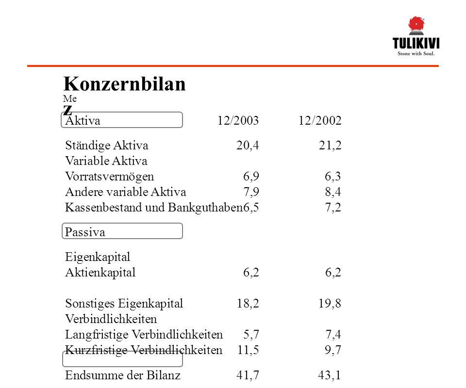 Konzernbilanz Aktiva 12/2003 12/2002 Ständige Aktiva 20,4 21,2