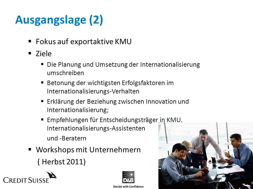 Ausgangslage (2) Fokus auf exportaktive KMU Ziele