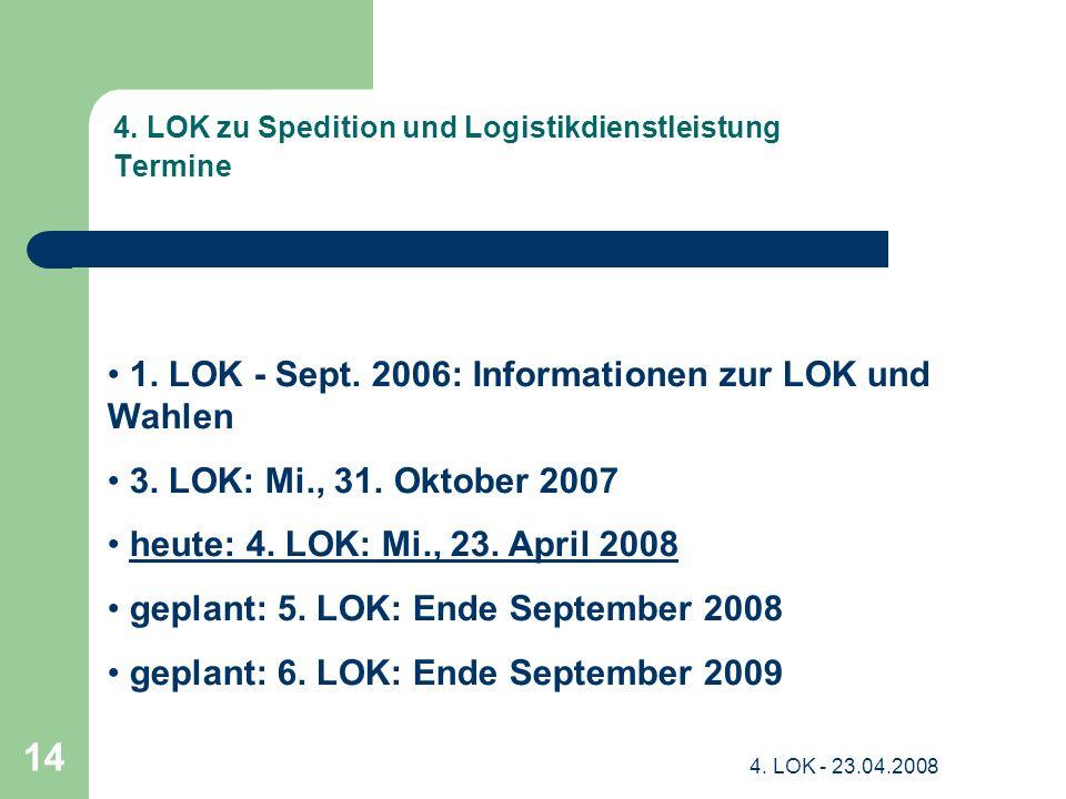 4. LOK zu Spedition und Logistikdienstleistung Termine