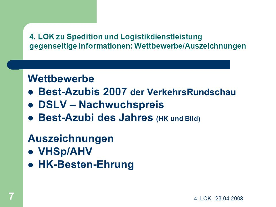 Best-Azubis 2007 der VerkehrsRundschau DSLV – Nachwuchspreis
