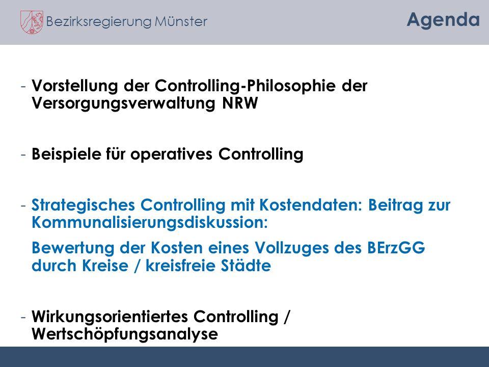 Agenda Vorstellung der Controlling-Philosophie der Versorgungsverwaltung NRW. Beispiele für operatives Controlling.