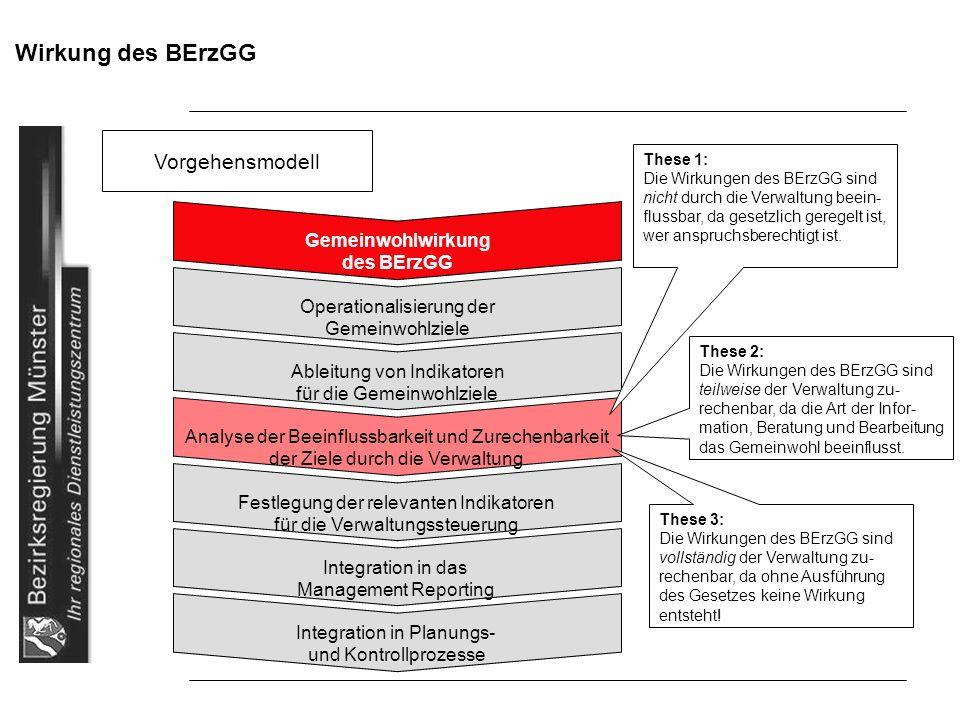 Wirkung des BErzGG Vorgehensmodell Gemeinwohlwirkung des BErzGG