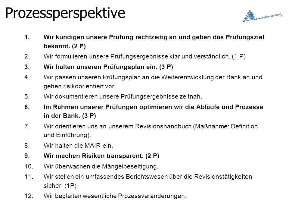 Prozessperspektive Wir kündigen unsere Prüfung rechtzeitig an und geben das Prüfungsziel bekannt. (2 P)