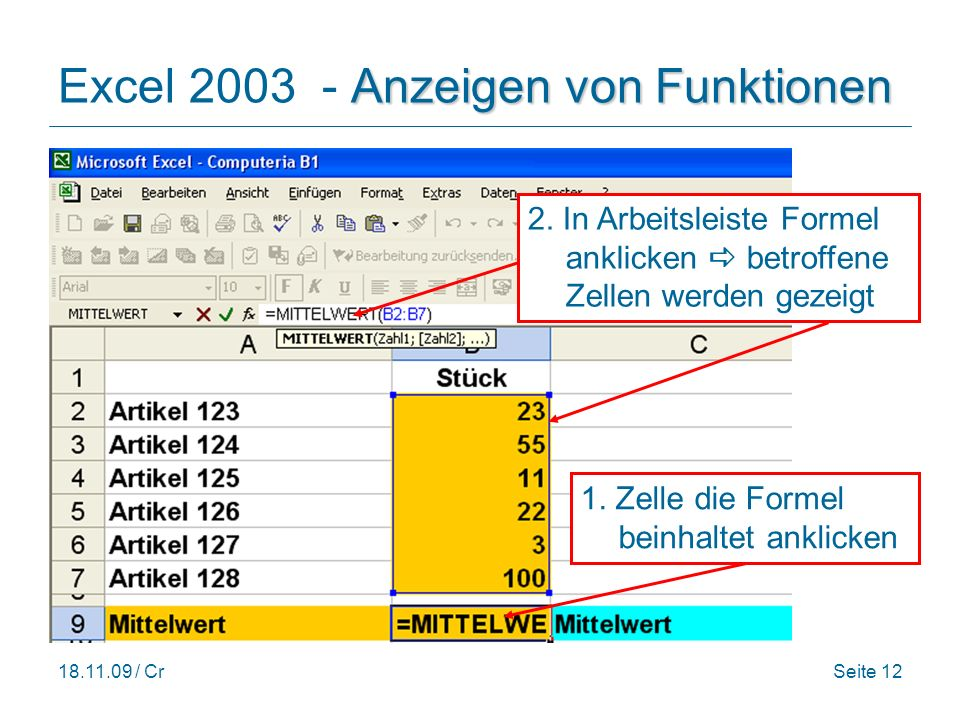 Excel 2003 - Anzeigen von Funktionen
