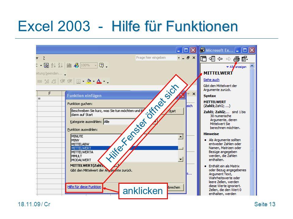 Excel 2003 - Hilfe für Funktionen