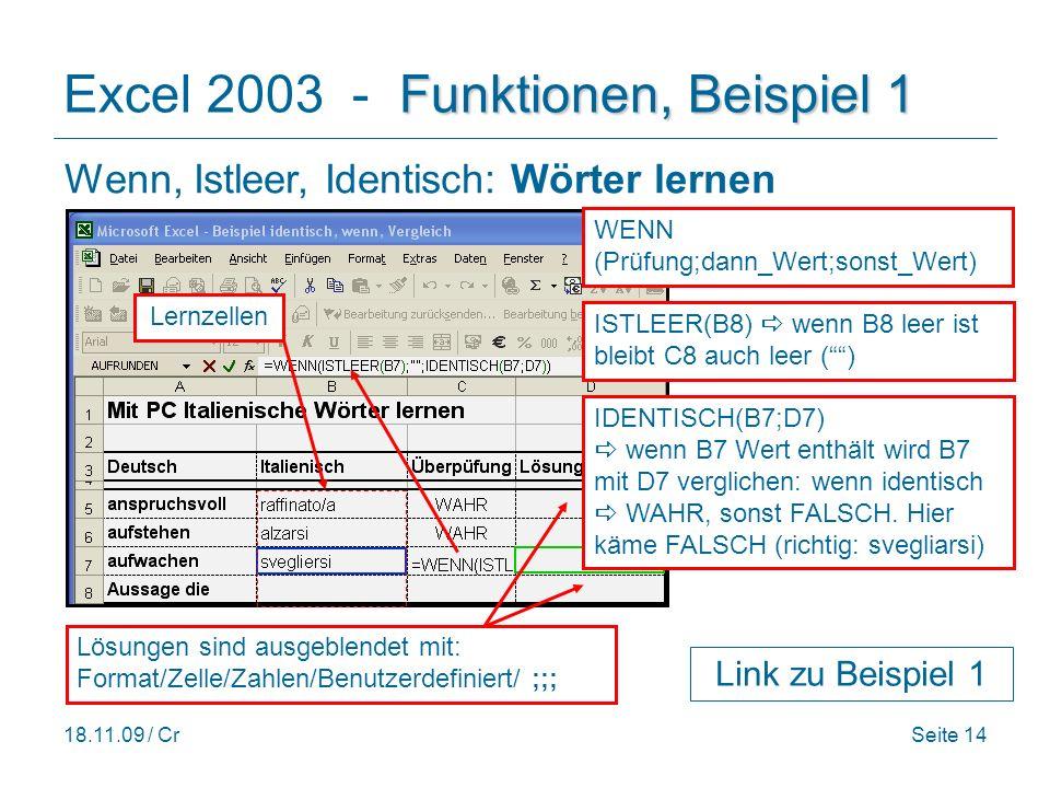 Excel 2003 - Funktionen, Beispiel 1