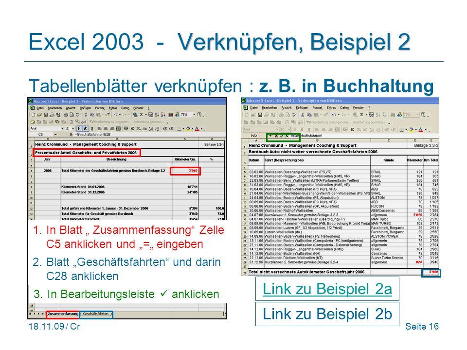 Excel 2003 - Verknüpfen, Beispiel 2