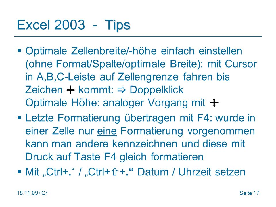 Excel 2003 - Tips