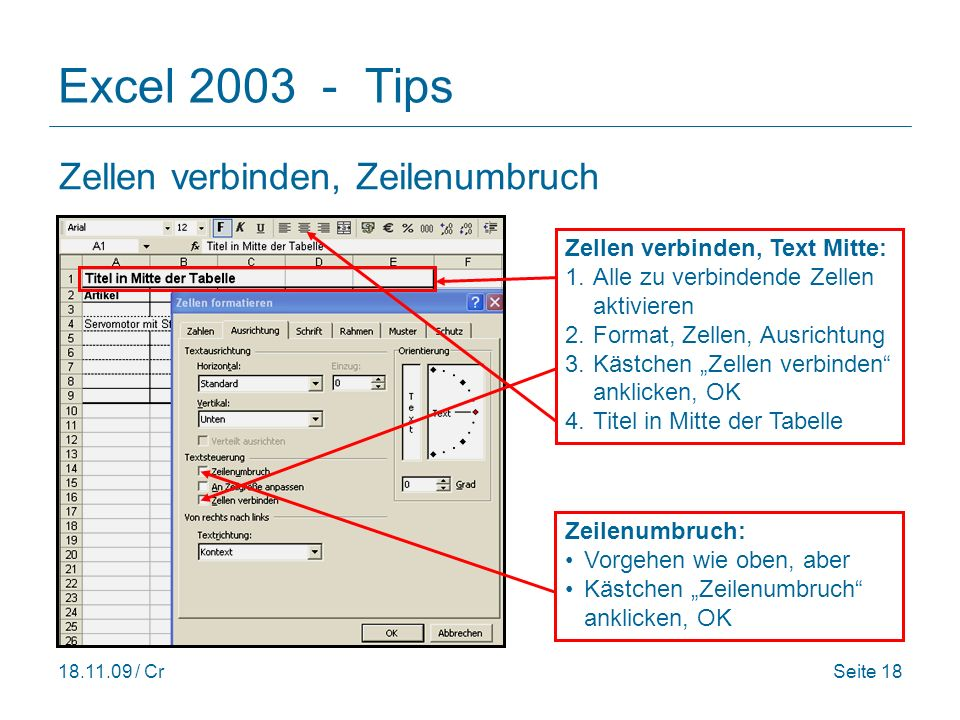 Excel 2003 - Tips Zellen verbinden, Zeilenumbruch