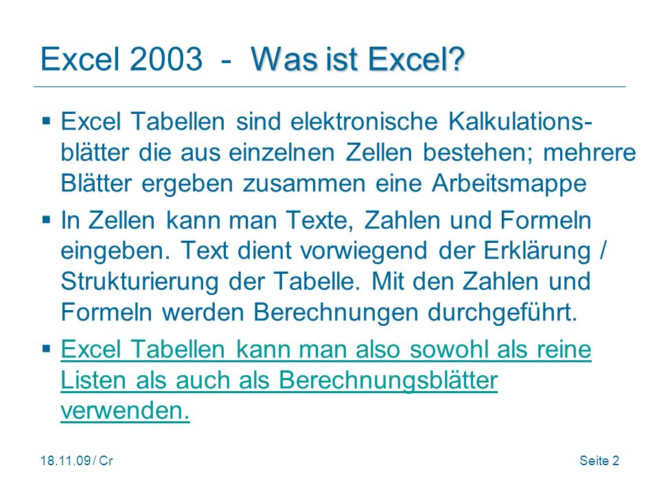 Excel 2003 - Was ist Excel