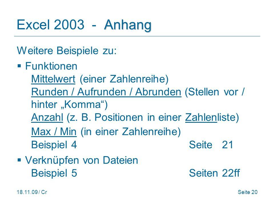 Excel 2003 - Anhang Weitere Beispiele zu: