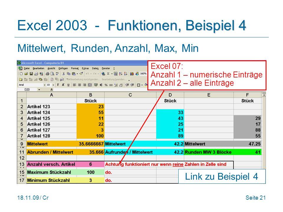 Excel 2003 - Funktionen, Beispiel 4