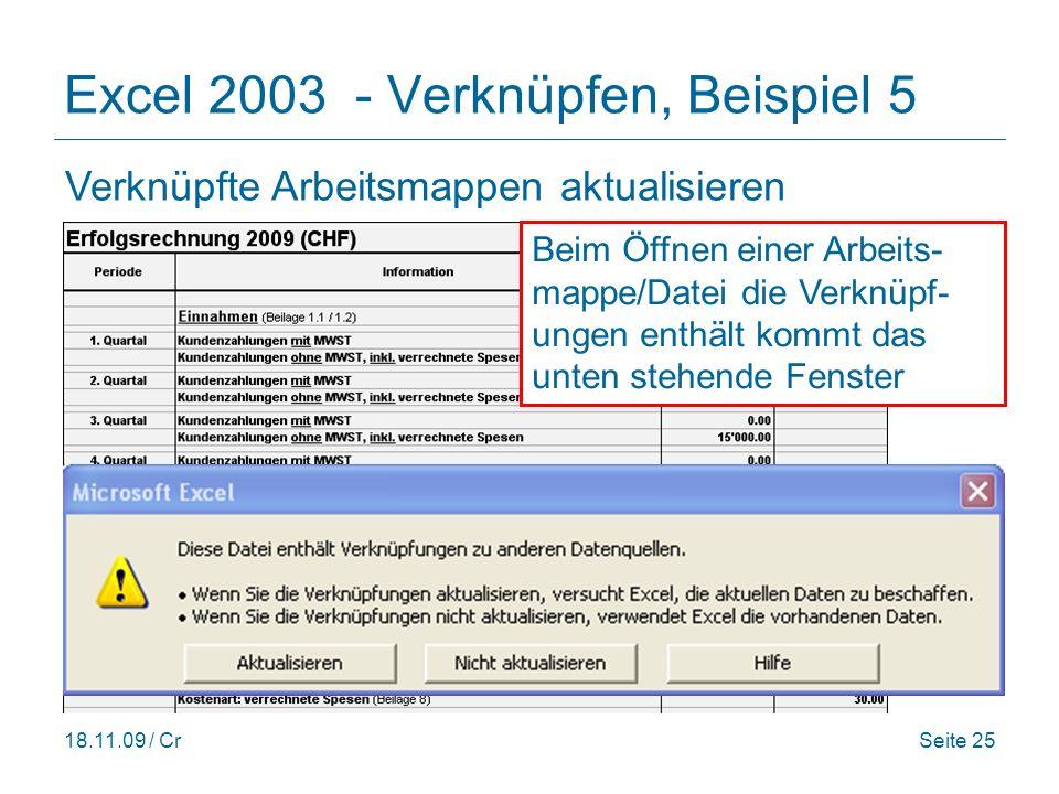 Excel 2003 - Verknüpfen, Beispiel 5