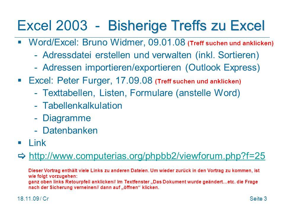 Excel 2003 - Bisherige Treffs zu Excel