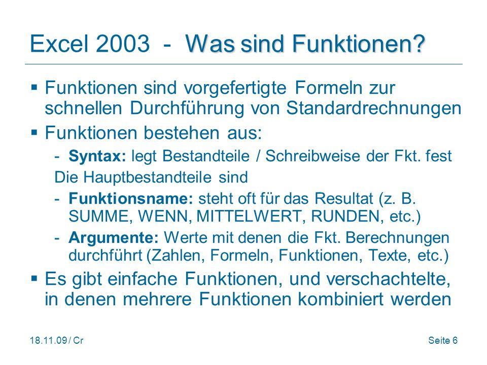 Excel 2003 - Was sind Funktionen