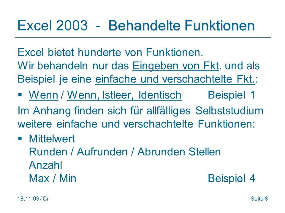 Excel 2003 - Behandelte Funktionen