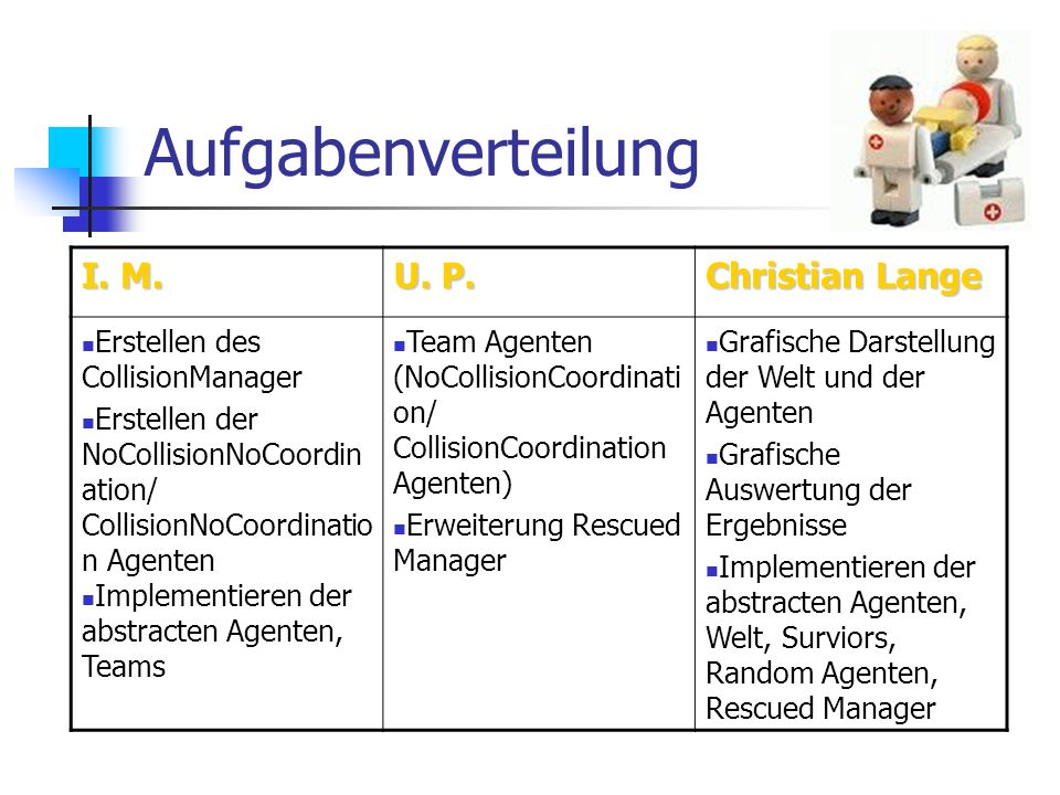 Aufgabenverteilung I. M. U. P. Christian Lange