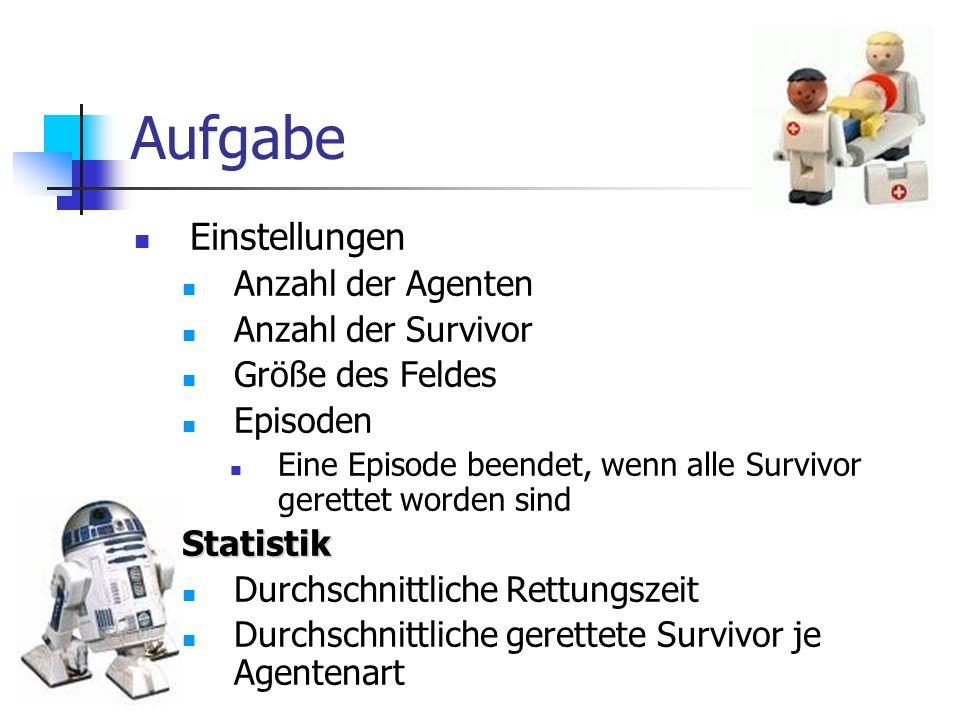 Aufgabe Einstellungen Anzahl der Agenten Anzahl der Survivor