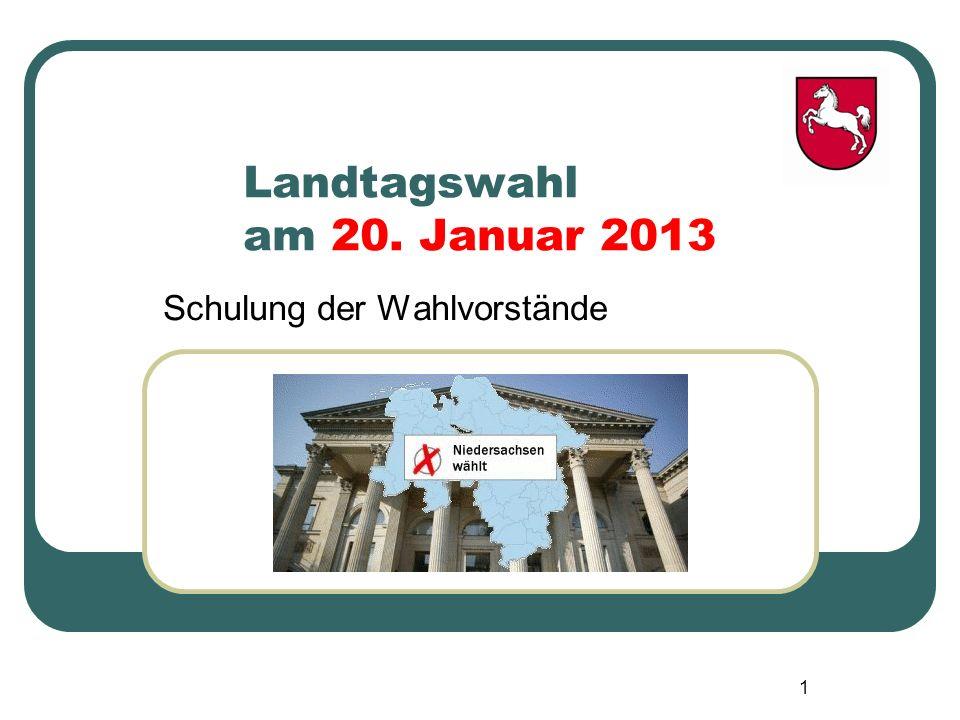 Landtagswahl am 20. Januar 2013