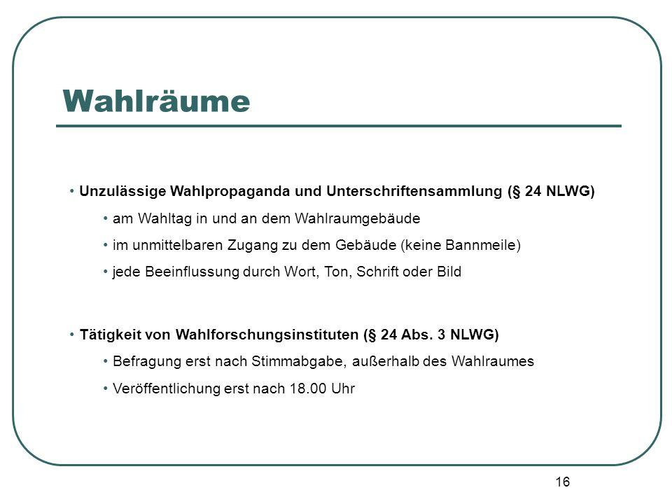 Wahlräume Unzulässige Wahlpropaganda und Unterschriftensammlung (§ 24 NLWG) am Wahltag in und an dem Wahlraumgebäude.