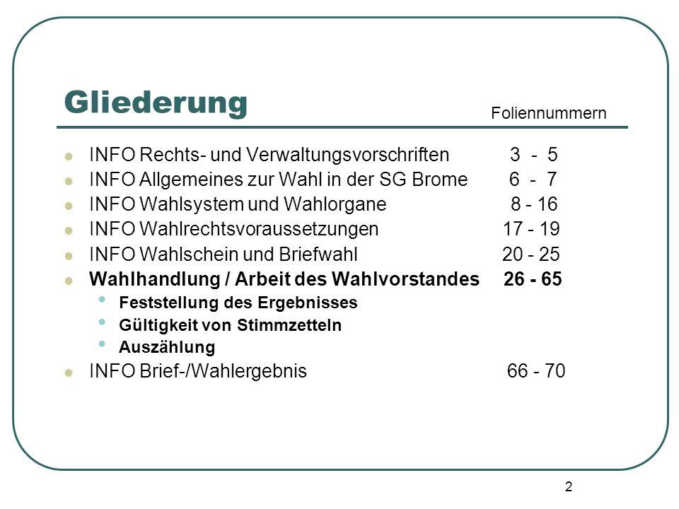Gliederung INFO Rechts- und Verwaltungsvorschriften 3 - 5