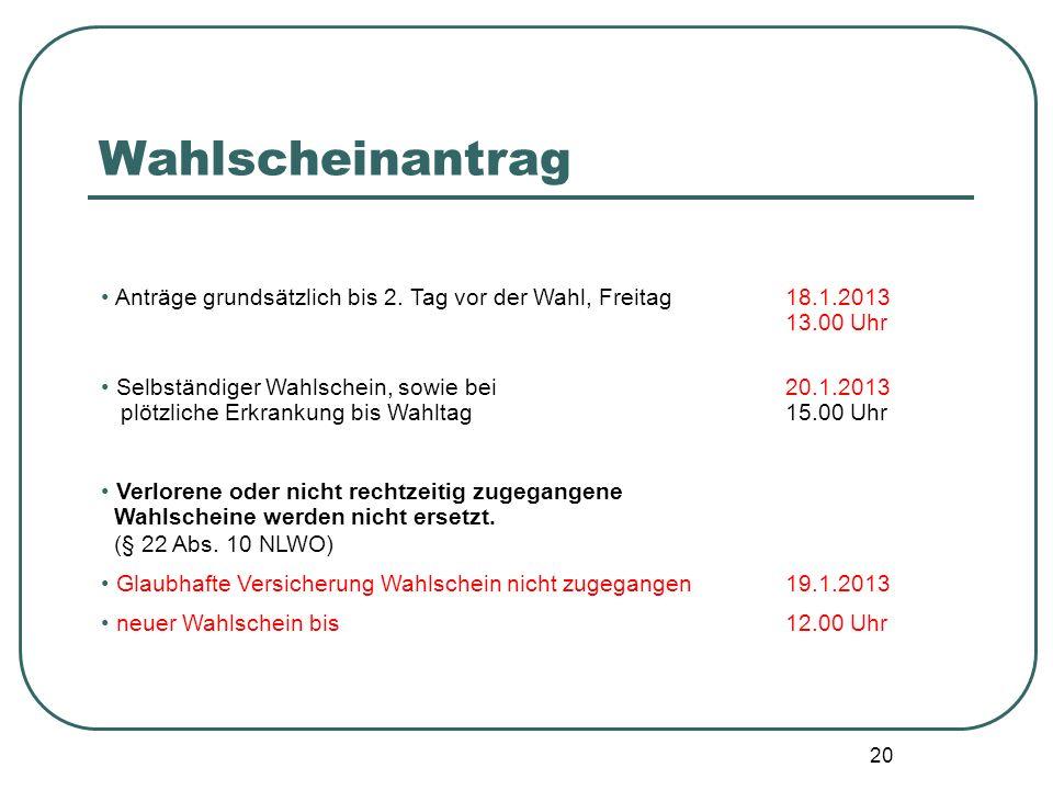 Wahlscheinantrag Anträge grundsätzlich bis 2. Tag vor der Wahl, Freitag 18.1.2013 13.00 Uhr.