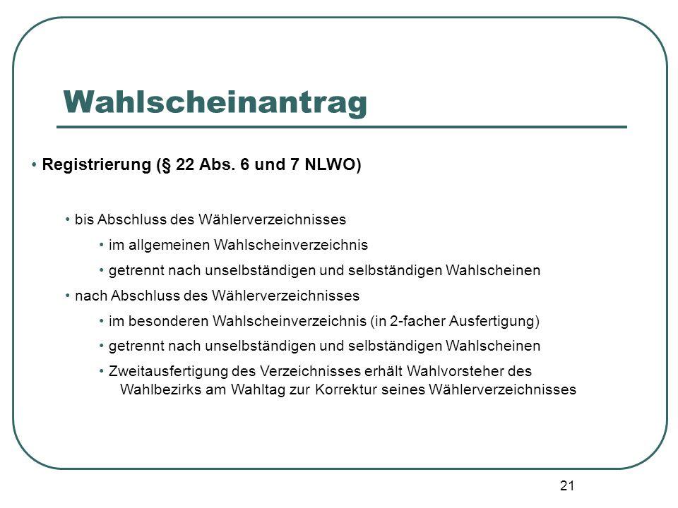 Wahlscheinantrag Registrierung (§ 22 Abs. 6 und 7 NLWO)