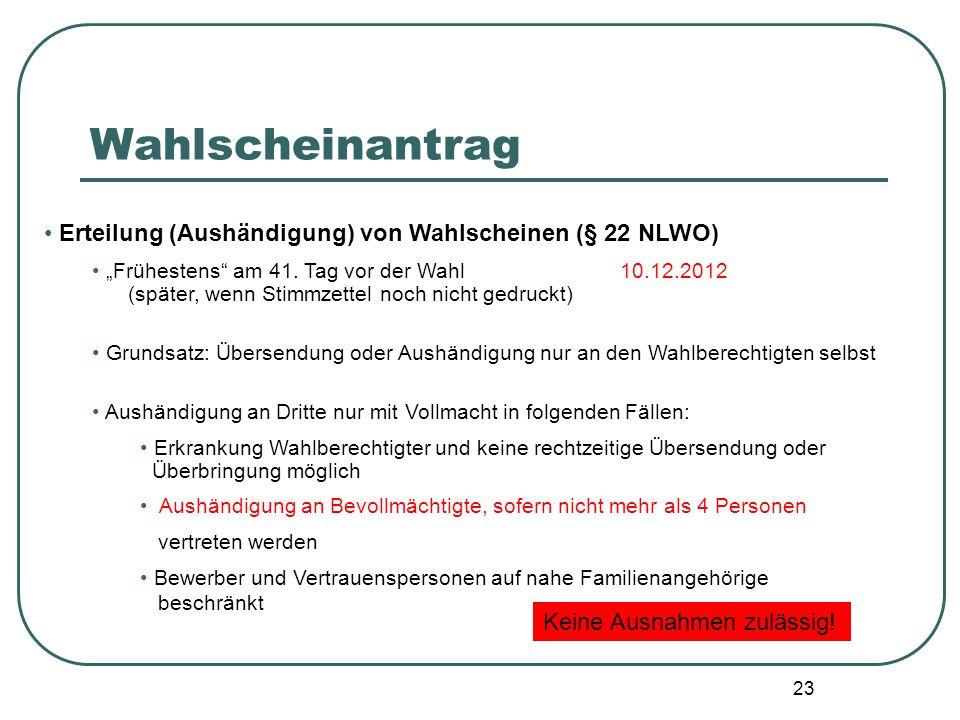 Wahlscheinantrag Erteilung (Aushändigung) von Wahlscheinen (§ 22 NLWO)