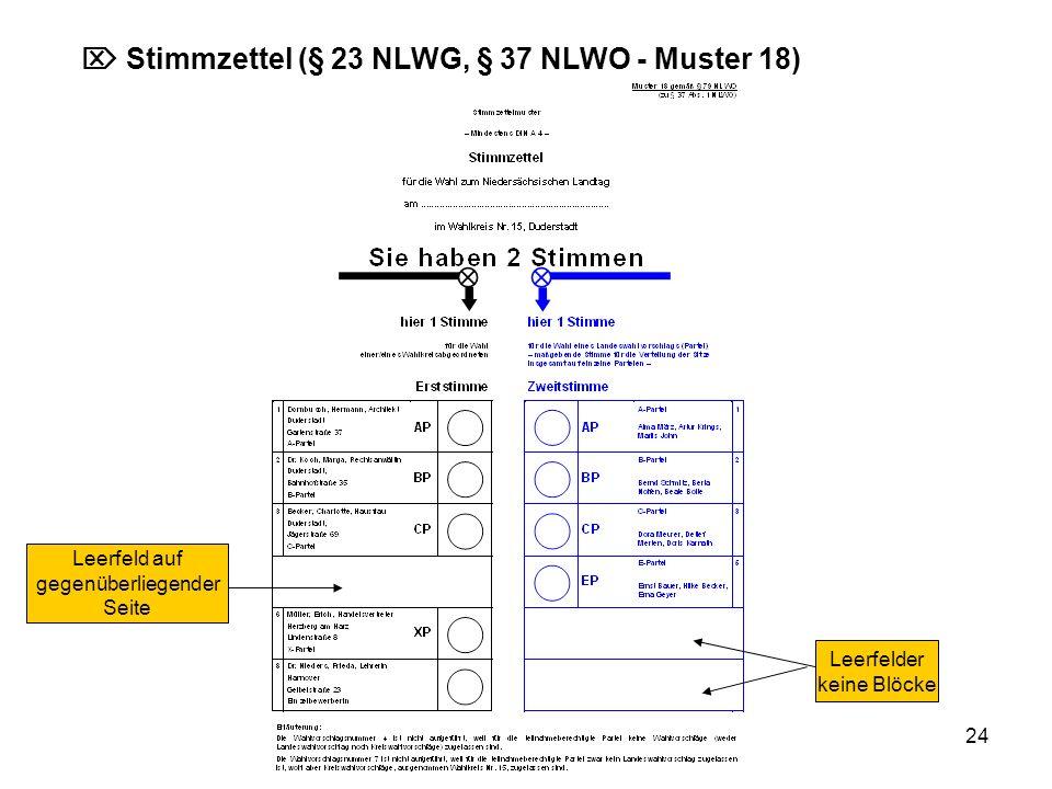  Stimmzettel (§ 23 NLWG, § 37 NLWO - Muster 18)