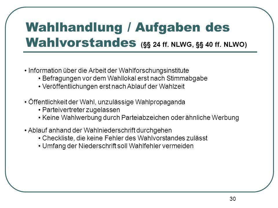Wahlhandlung / Aufgaben des Wahlvorstandes (§§ 24 ff. NLWG, §§ 40 ff