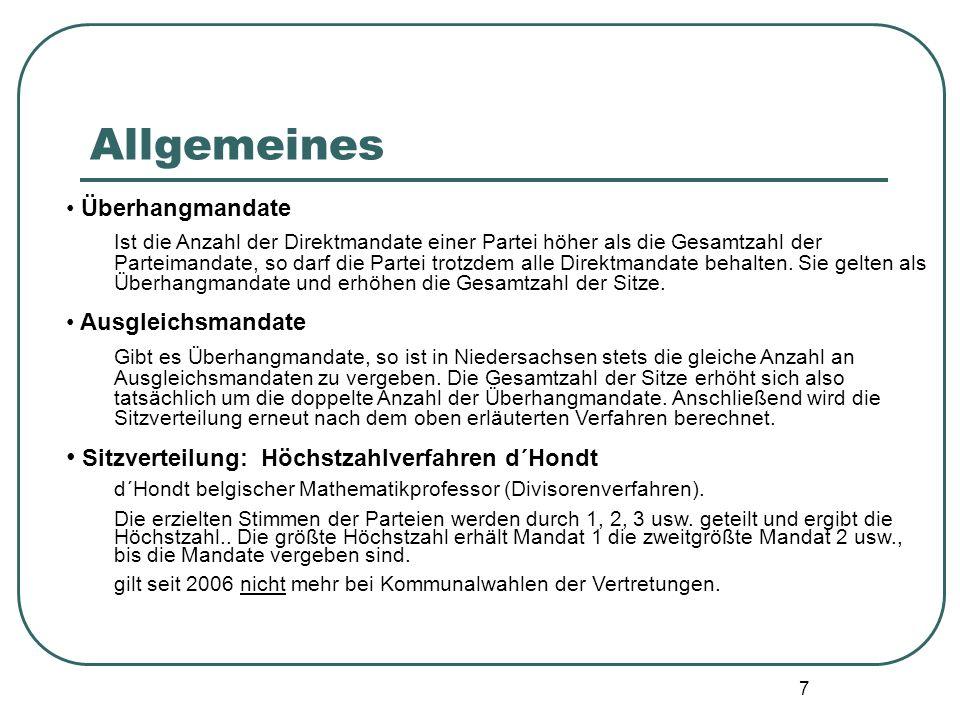 Allgemeines Sitzverteilung: Höchstzahlverfahren d´Hondt