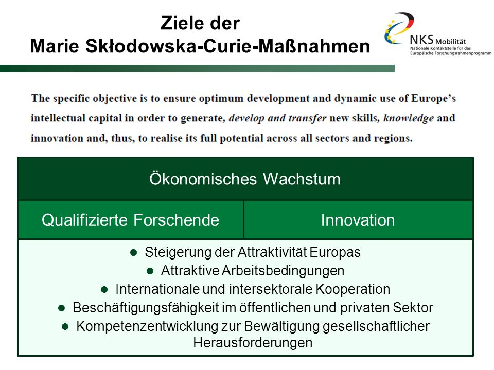 Ziele der Marie Skłodowska-Curie-Maßnahmen
