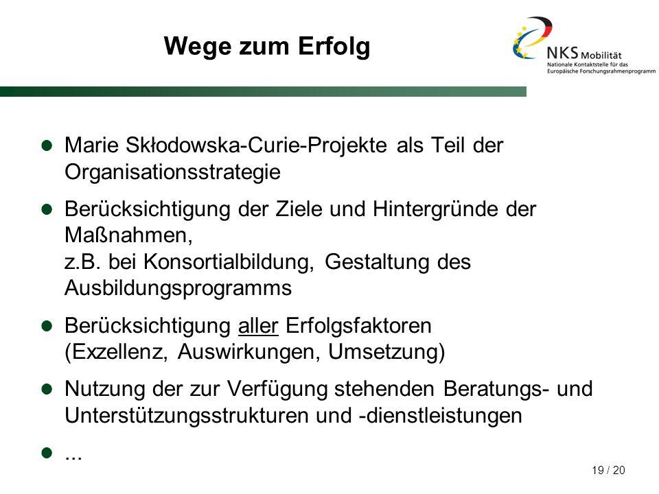 Wege zum Erfolg Marie Skłodowska-Curie-Projekte als Teil der Organisationsstrategie.