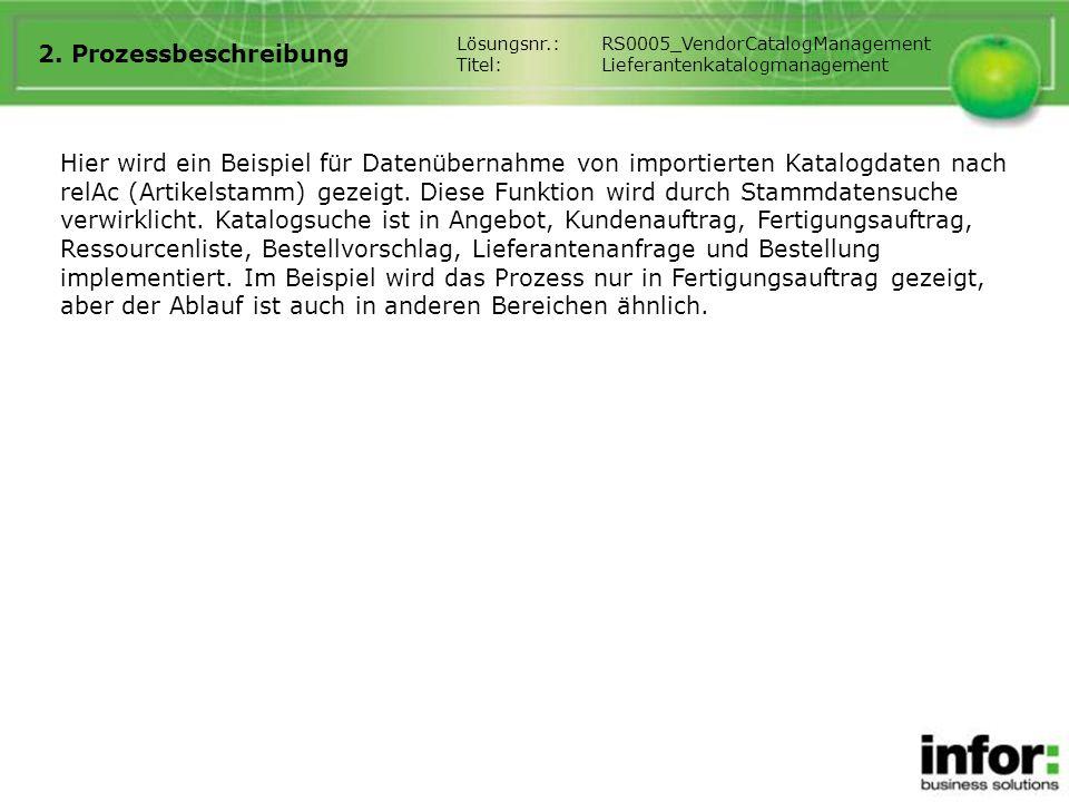 2. Prozessbeschreibung Lösungsnr.: RS0005_VendorCatalogManagement. Titel: Lieferantenkatalogmanagement.