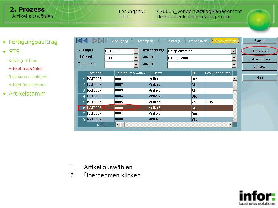 Prozess Artikel auswählen Übernehmen klicken Fertigungsauftrag STS