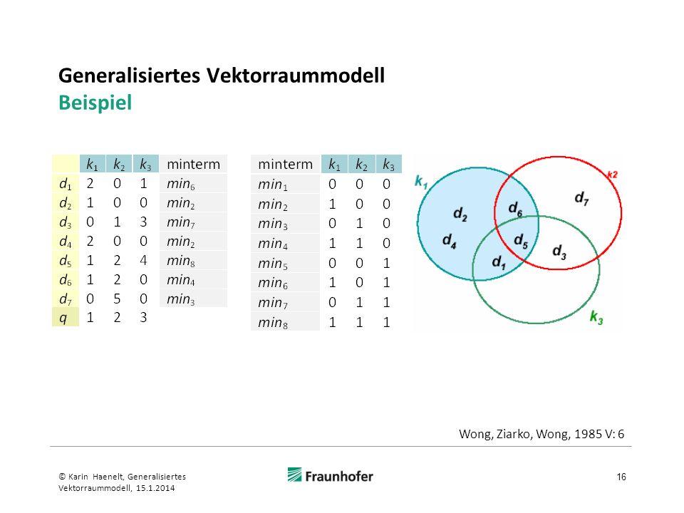 Generalisiertes Vektorraummodell Beispiel