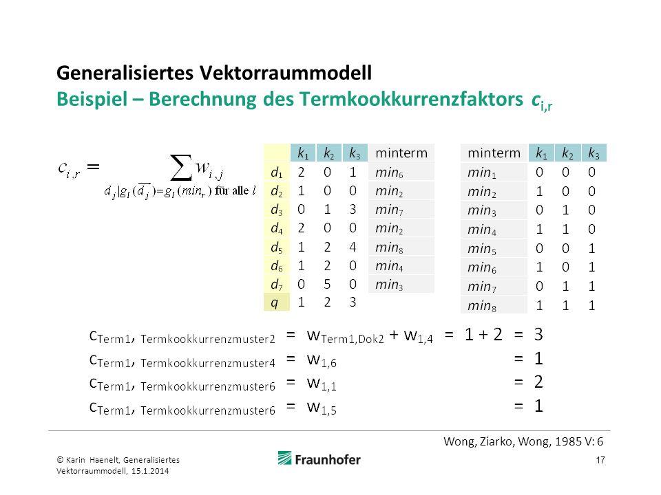 Generalisiertes Vektorraummodell Beispiel – Berechnung des Termkookkurrenzfaktors ci,r