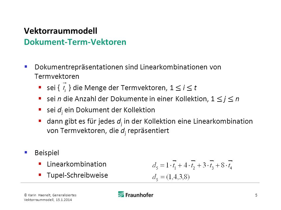 Vektorraummodell Dokument-Term-Vektoren