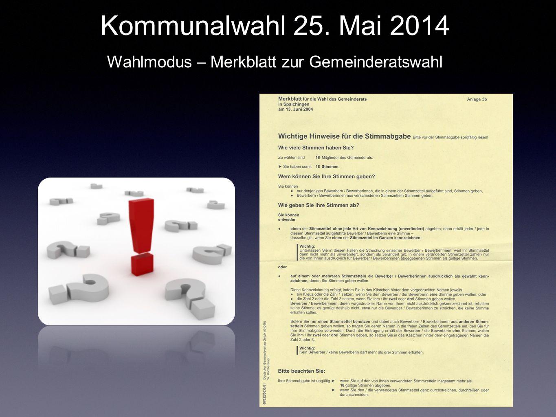 Wahlmodus – Merkblatt zur Gemeinderatswahl