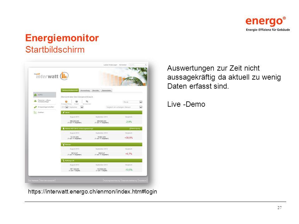 Energiemonitor Startbildschirm