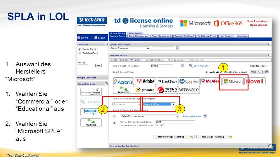 SPLA in LOL 1 2 3 Auswahl des Herstellers Microsoft