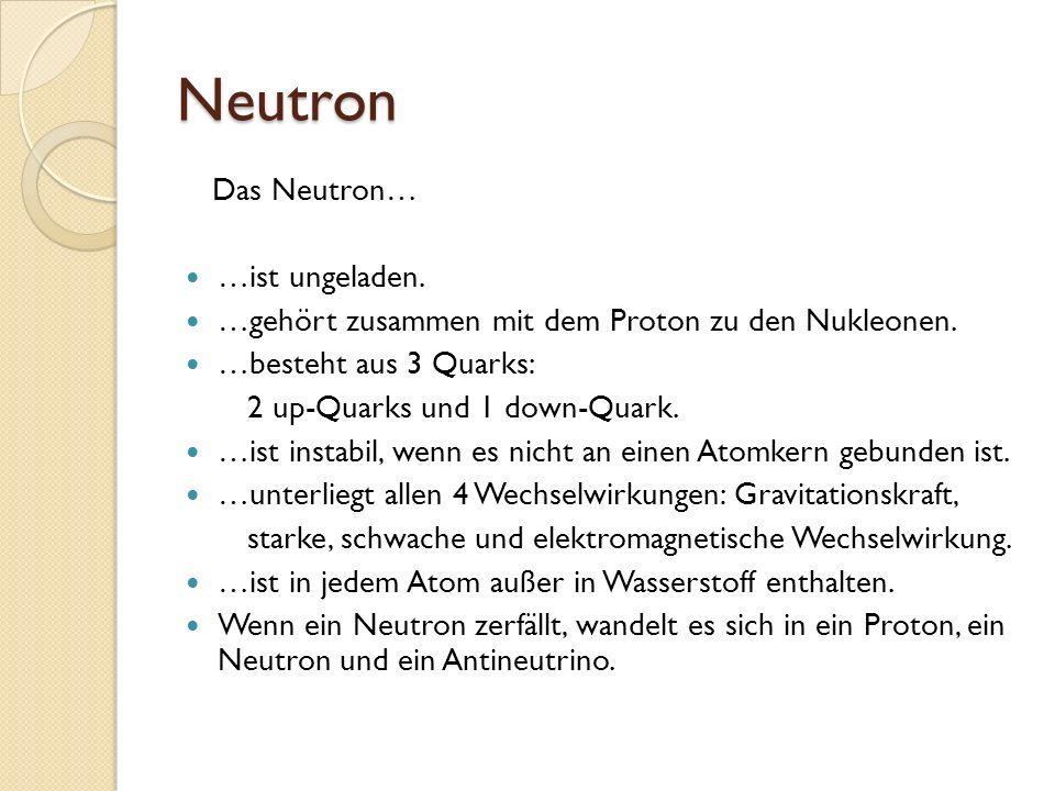 Neutron Das Neutron… …ist ungeladen.