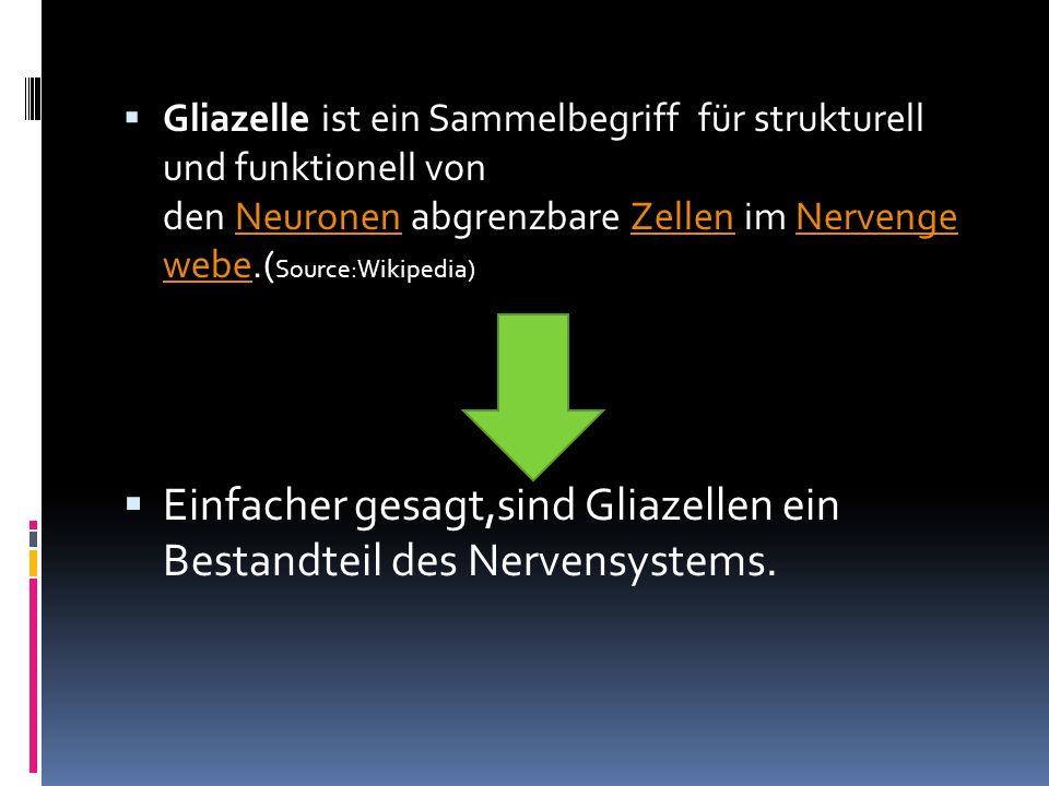 Einfacher gesagt,sind Gliazellen ein Bestandteil des Nervensystems.