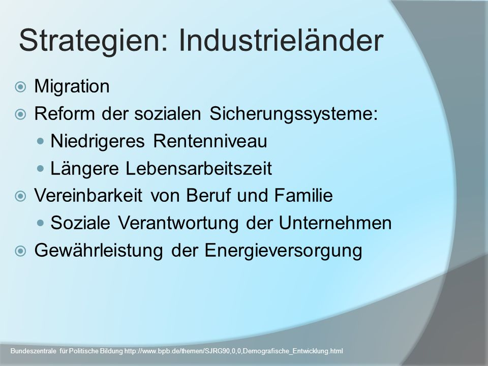 Strategien: Industrieländer