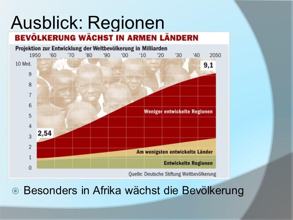 Ausblick: Regionen 1 Besonders in Afrika wächst die Bevölkerung