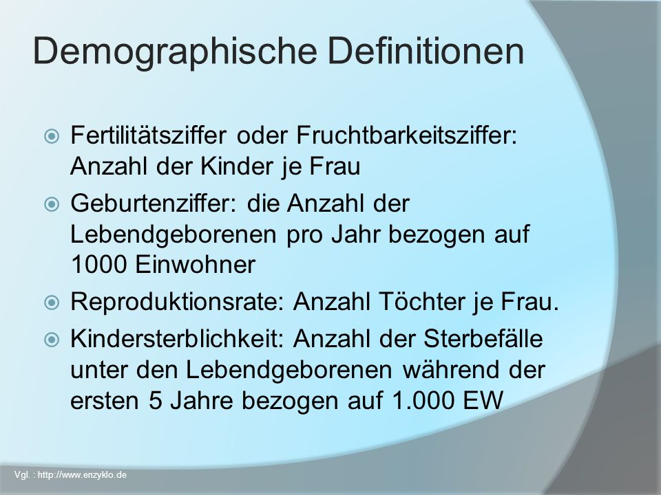 Demographische Definitionen