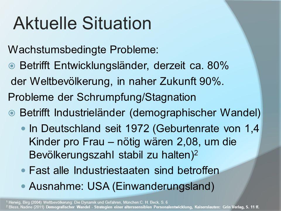 Aktuelle Situation Wachstumsbedingte Probleme: