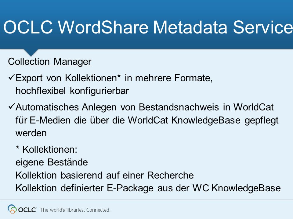 OCLC WordShare Metadata Services