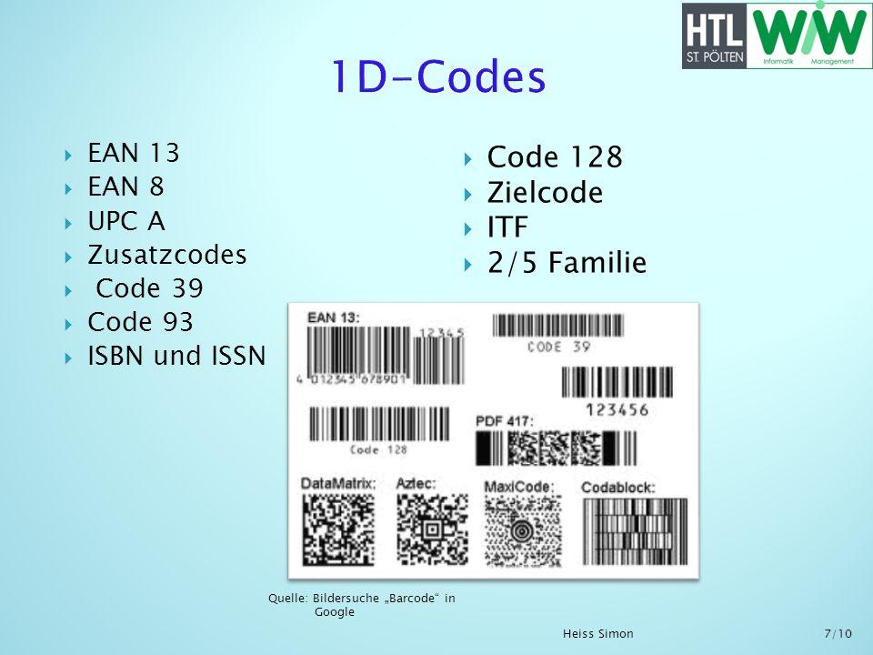 1D-Codes Code 128 Zielcode ITF 2/5 Familie EAN 13 EAN 8 UPC A